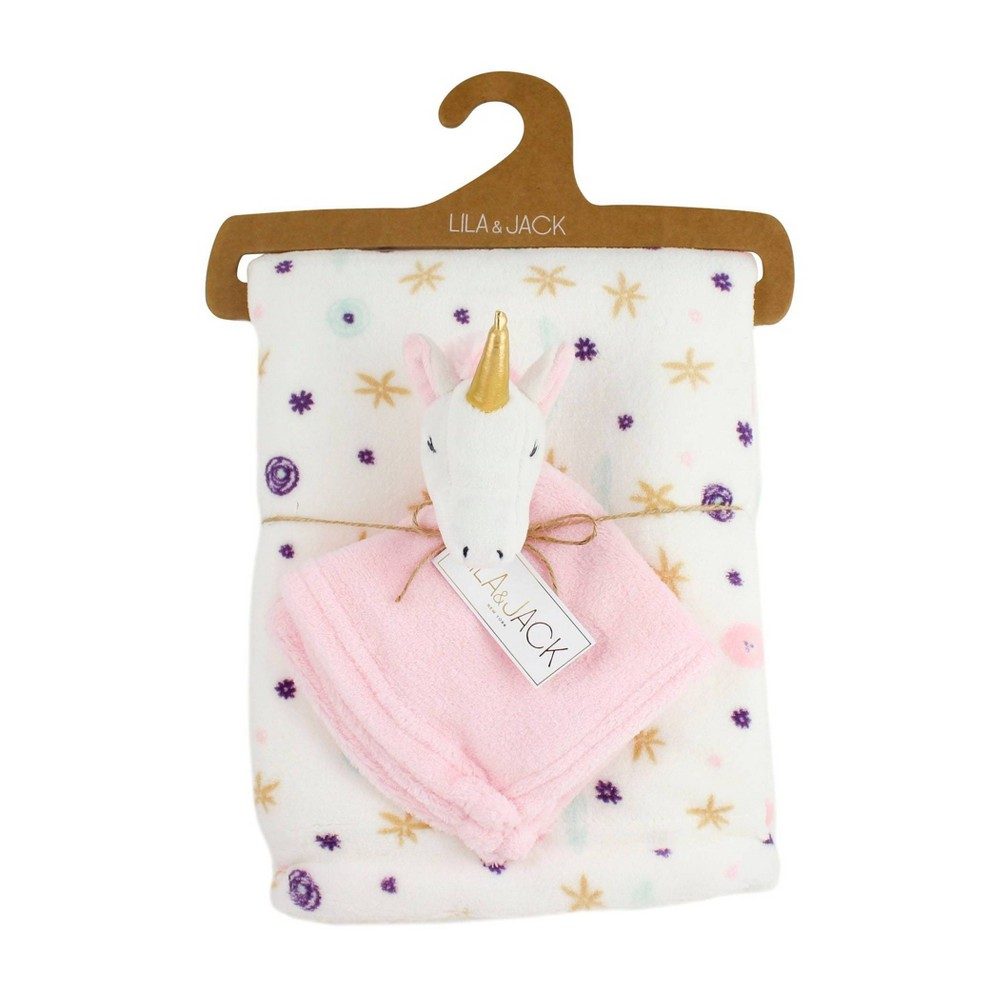 Image of Lila and Jack White with Yellow and Purple Floral Fleece Kids Throw with White and Pink Unicorn Lovey Set