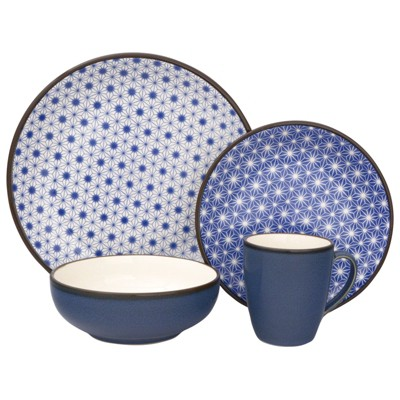 16pc Stoneware Celestial Dinnerware Set Blue - Sango