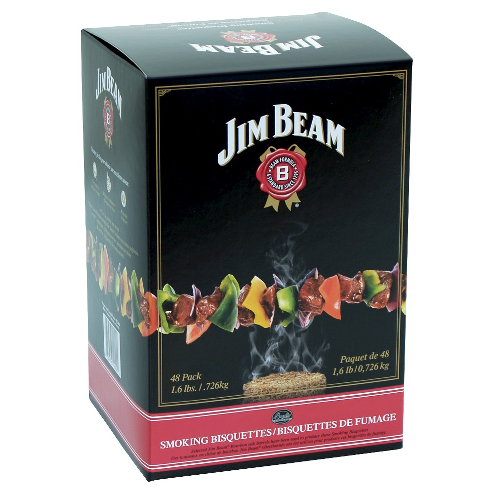 Jim Beam Bisquettes 48 pack Smoker Box - Bradley Smoker Bradley flavor bisquettes are the secret to the clean, true smoke flavor of foods smoked/cooked in the Bradley Smoker. Made from the oak barrels of Jim Beam Bourbon. The bisquettes are so rich in flavor, you can actually smell the bourbon essence still in them. Jim Beam's full, rich flavor is excellent for any meat.