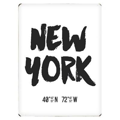 Scoutmob Latitude & Longitude Woodblock Art - New York