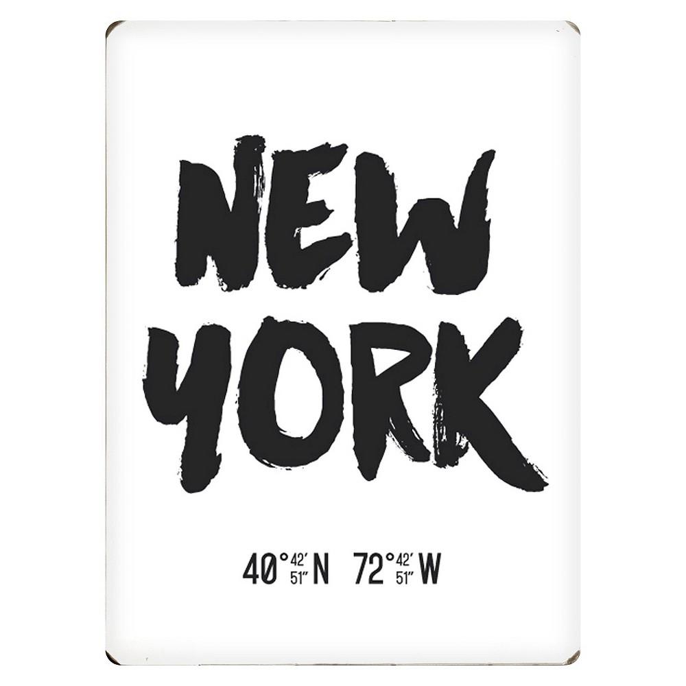 Image of Scoutmob Latitude & Longitude Woodblock Art - New York, White Black