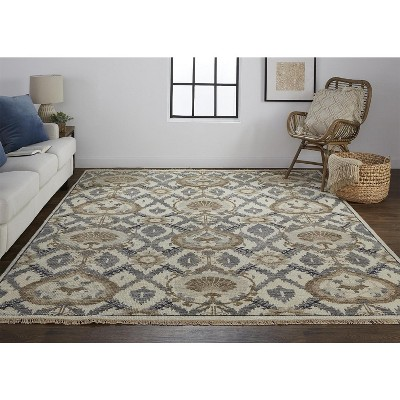 Feizy Beall Luxury Wool Rug, Ornamenatal Ikat, Beige, 3ft-6in x 5ft-6in Accent Rug