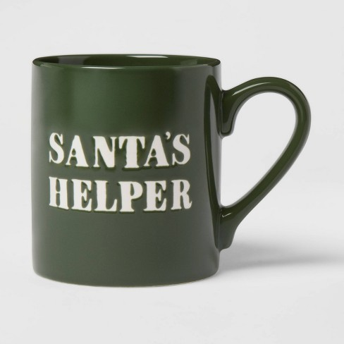 16oz Stoneware Santa's Helper Christmas Mug Green - Threshold™ - image 1 of 3