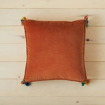 Oversized Solid Velvet Square Floor Pillow with Tassels - Opalhouse™ designed with Jungalow™