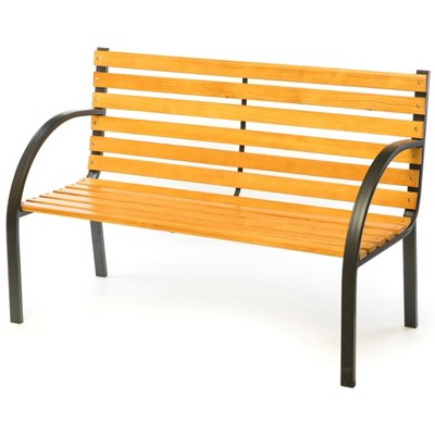Gardenised Classical Wooden Outdoor Park Patio Garden Yard Bench with Steel Frame