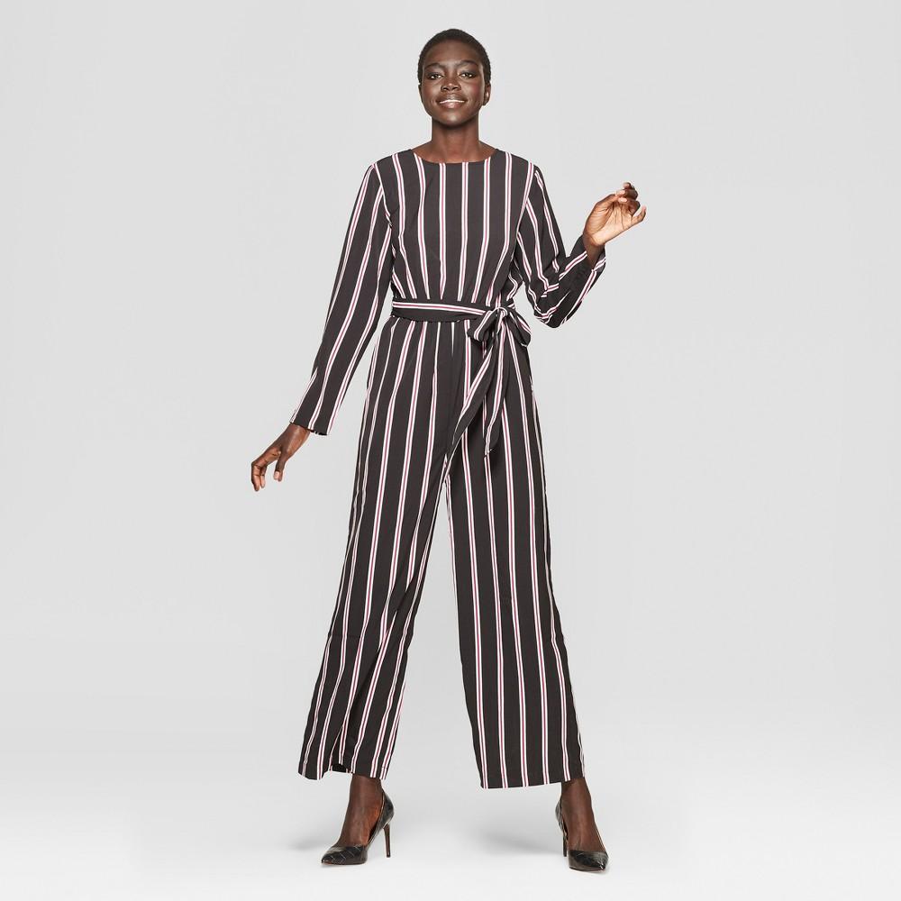 Women's Striped Long Sleeve Crew Neck Jumpsuit - Who What Wear Black/White Xxl, Black Stripe
