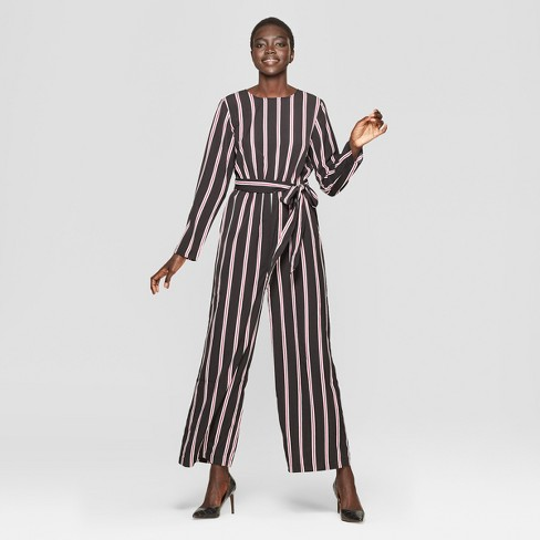 739523a53a54 Women s Striped Long Sleeve Crew Neck Jumpsuit - Who What Wear ...