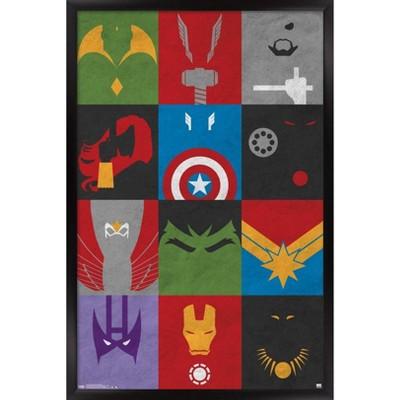 Avengers - Minimalist Grid Framed Poster Trends International