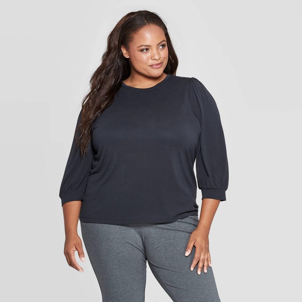 Image of Women's Plus Size 3/4 Sleeve Crewneck Sandwash Top - Ava & Viv Black 3X, Size: 3XL