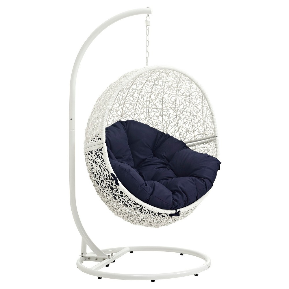 Hide Outdoor Patio Swing Chair in White Navy - Modway