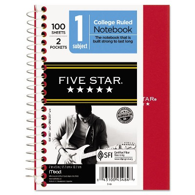 Five Star Wirebound Notebook College Rule 7 x 5 100 Sheets Assorted 45484