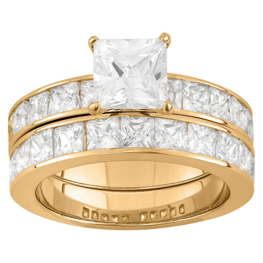 6.36 CT. T.W. Princess-Cut 2 Piece Bridal Ring Set In 14K Gold Over Silver - (10), Girl's, Yellow