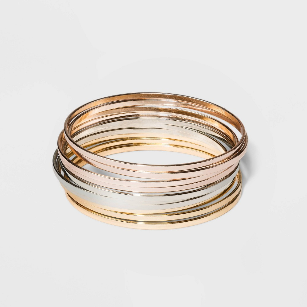 Tri Tone Bangle Bracelet 10pc – A New Day L/XL, Women's, Size: Large/XL, MultiColored