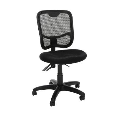 Comfort Series Ergonomic Mesh Mid-Back Swivel Armless Task Chair Black - OFM