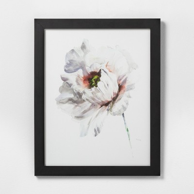 16  X 20  White Flower Wall Art with Black Wood Frame - Hearth & Hand™ with Magnolia