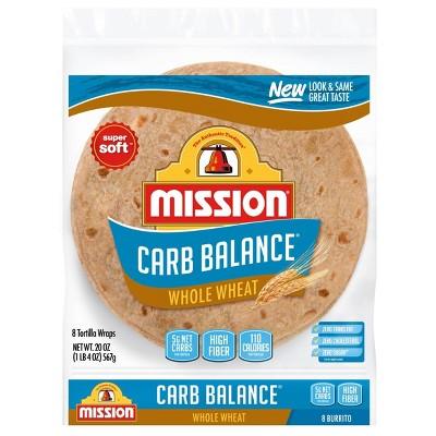 Mission Carb Balance Burrito Size Whole Wheat Flour Tortillas - 20oz/8ct