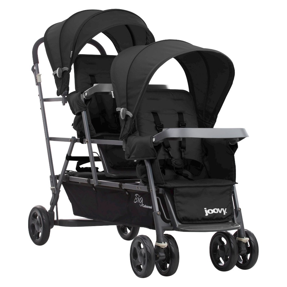 Image of Joovy Big Caboose Graphite Stand-On Tandem Triple Stroller - Black