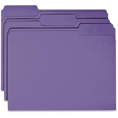 Business Source Color File Folder 1/3 Cut 100/BX Purple 44106
