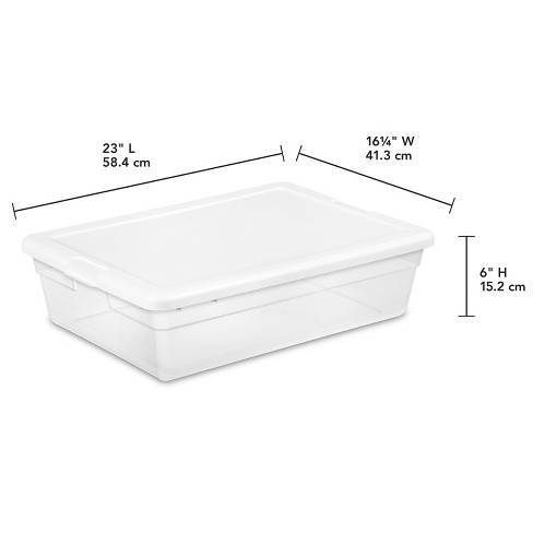Sterilite Clear Plastic Under Bed Storage Bin With White Lid 7gal Target