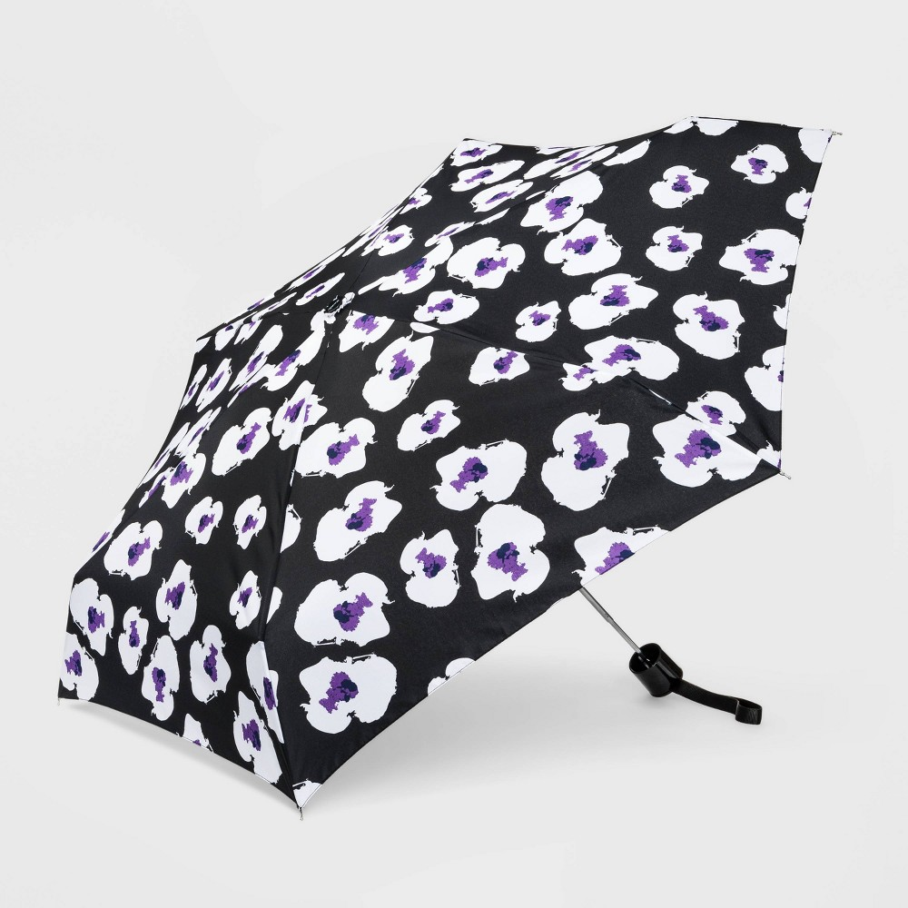 Image of Cirra by ShedRain Floral Print Women's Mini Manual Compact Umbrella - Black, Adult Unisex, Size: Small