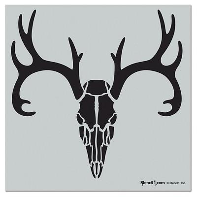 "Stencil1 Antlered Deer Skull - Wall Stencil 11"" x 11"""
