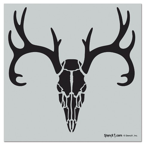 "Stencil1® Antlered Deer Skull - Wall Stencil 11"" x 11"" - image 1 of 3"