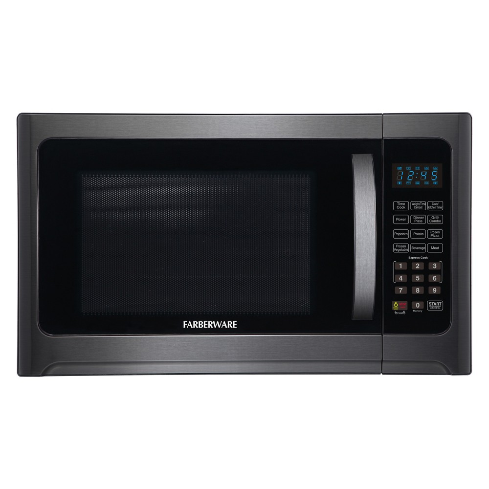 Farberware 1.2 cu ft 1100 Watt Microwave Oven with Grill Function Black Stainless Steel – FMO12AHTBSG 53821361