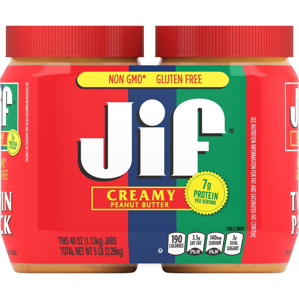 Jif Creamy Peanut Butter Twin Pack - 80oz