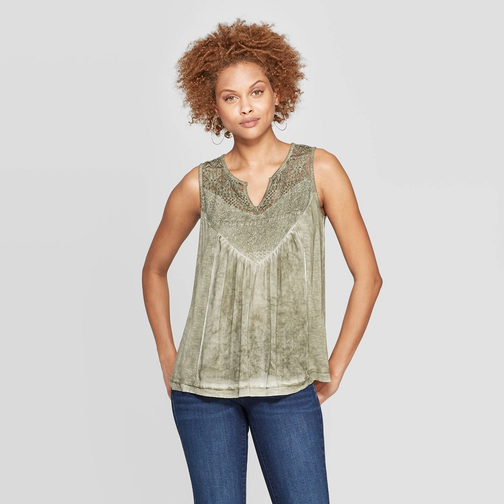 Women's V-Neck Tank Top With Lace - Knox Rose Green M