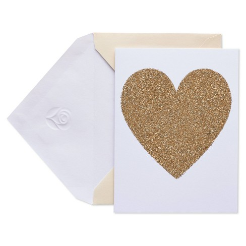 10ct Blank Cards with Envelopes Heart Gold - image 1 of 4
