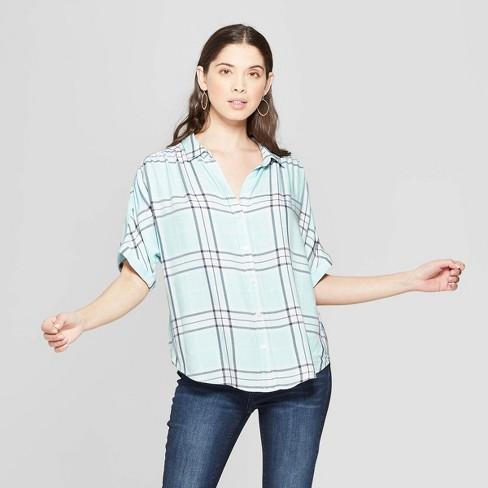 3bf6152ba7cff Women s Plaid Short Sleeve Collared Camp Shirt - Universal Thread™ Blue