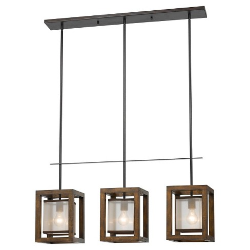 Cal Lighting Mission Wood And Metal Island Chandelier