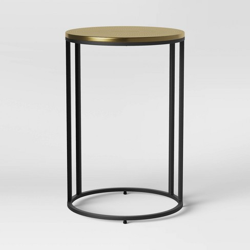 Brae Hammered Brass Top C Table with Base Black/Gold - Project 62™ - image 1 of 4
