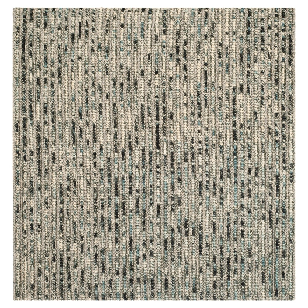 Gray/Multi Stripes Tufted Square Area Rug - (8'X8') - Safavieh, Gray/Multicolor
