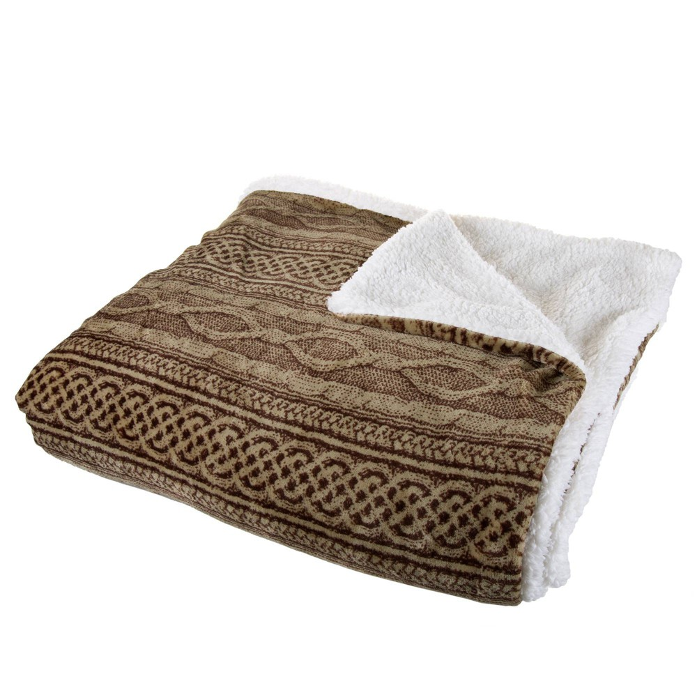"Image of ""106""""x90"""" Flannel/Sherpa Throw Chocolate/Taupe - Hastings Home"""