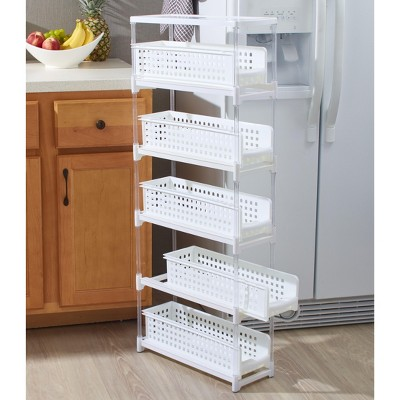 Lakeside Slim Kitchen Storage with Five Slide-Out Drawers for Pantries, Gaps, Bathrooms