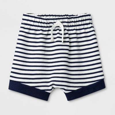 Baby Boys' Striped French Terry pull-on Shorts - Cat & Jack™ Navy Blue Newborn