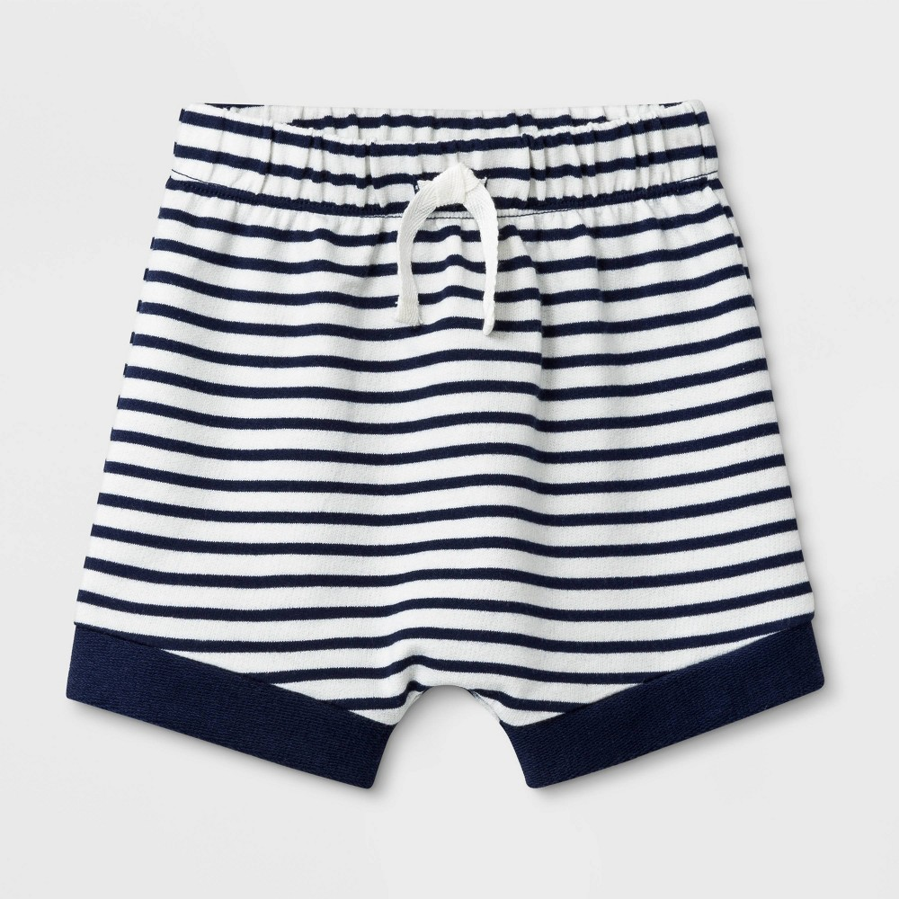 9808f70e67 Baby Boys Striped French Terry pull on Shorts Cat Jack Navy Blue 6 9M Blue  White