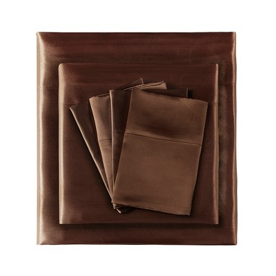 California King Solid Satin 6pc Wrinkle Free Luxurious Sheet Set Chocolate