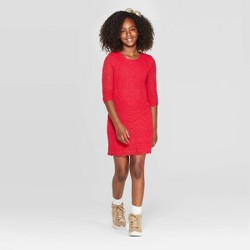 Girls' 3/4 Sleeve Shine Crochet Sweater Dress - Cat & Jack™