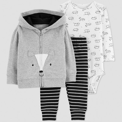 Baby Boys' 3pc Fox Stripes Interlock Cardigan Set - Gray/White/Black 3M