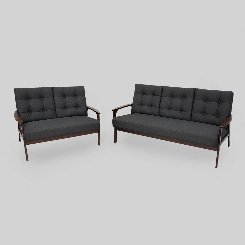 Image of 2pc Aries Mid Century Sofa Set Black - Christopher Knight Home