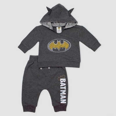 Baby Boys' Batman Logo 2pc Hooded Set - Black 6M