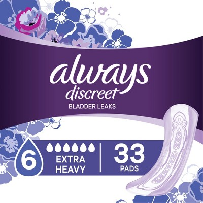 Always Discreet Incontinence and Postpartum Pads for Women - Extra Heavy Absorbency - 33ct