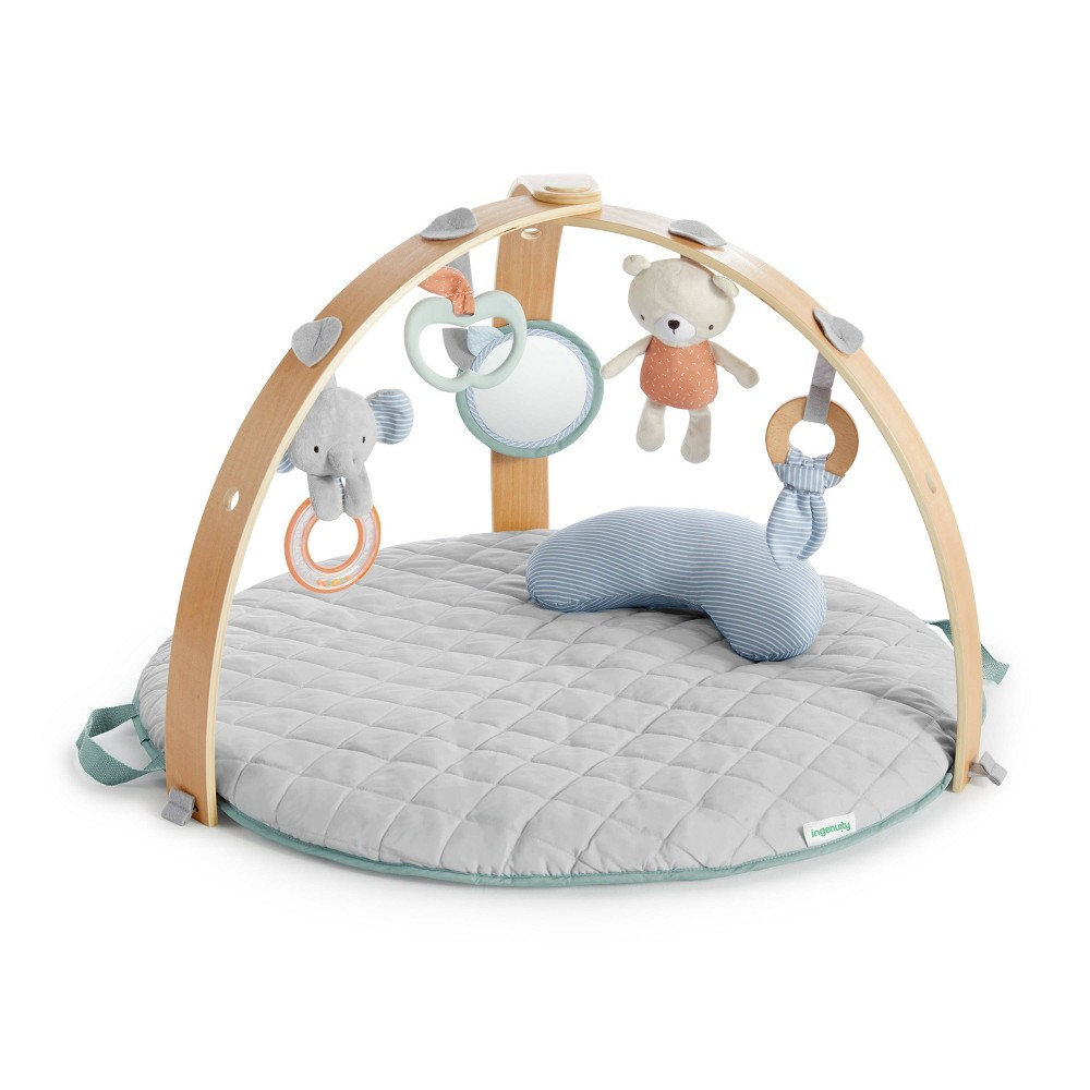 Ingenuity Cozy Spot Reversible Duvet Activity Gym With Wooden Toy Bar Loamy