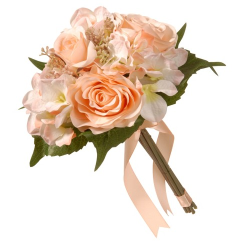"Artificial Rose & Hydrangea Bouquet Peach 12"" - National Tree Company® - image 1 of 1"