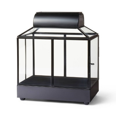 "10"" x 9"" Iron/Glass House Terrarium Planter Black - Hilton Carter for Target"