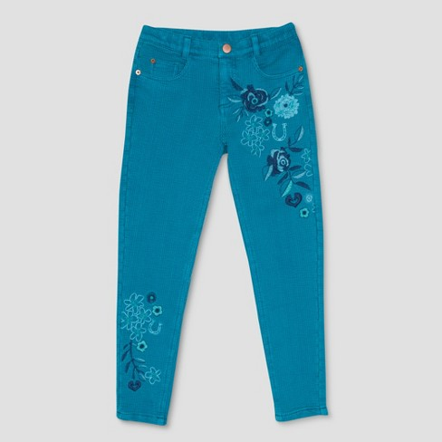 Girls' Spirit Riding Free Flowers Embroidered Jeans - Turquoise - image 1 of 2