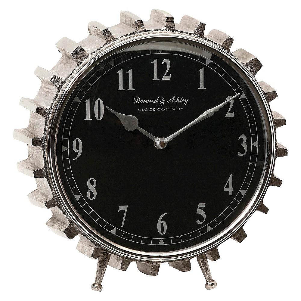 13 Round Gear Shaped Table Clock Black/Silver - Aurora