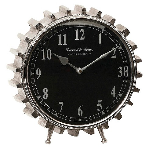 "13"" Round Gear Shaped Table Clock Black/Silver - Aurora® - image 1 of 1"